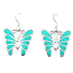 6.69gms fine green turquoise enamel 925 silver butterfly earrings a91936 c14321