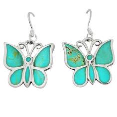 Fine green turquoise enamel 925 silver butterfly earrings jewelry a49646 c13621