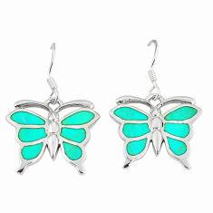 Fine green turquoise enamel 925 silver butterfly earrings jewelry a55550 c14339