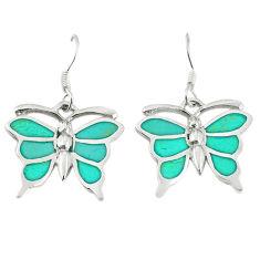Fine green turquoise enamel 925 silver butterfly earrings jewelry a67817 c14337