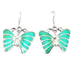 Fine green turquoise enamel 925 silver butterfly earrings jewelry c11587