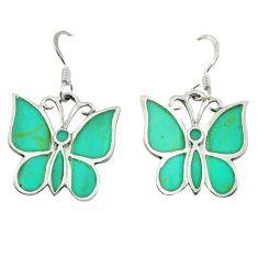 Fine green turquoise enamel 925 silver butterfly earrings jewelry c22191