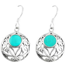4.89gms fine green turquoise enamel 925 sterling silver dangle earrings c11663