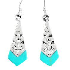 4.69gms fine green turquoise enamel 925 sterling silver dangle earrings c11704