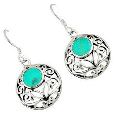 Fine green turquoise enamel 925 sterling silver dangle earrings jewelry c11571