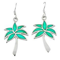 Fine green turquoise enamel 925 silver dangle palm tree earrings a58862 c13628