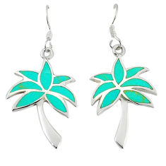 Fine green turquoise enamel 925 silver dangle palm tree earrings a67761 c14315