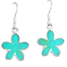 3.48gms fine green turquoise enamel 925 sterling silver flower earrings c11701