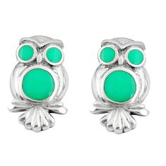 4.25gms fine green turquoise enamel 925 silver owl earrings a88640 c14261