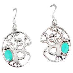 Fine green turquoise enamel 925 silver tree of life earrings c11674