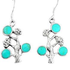 5.26gms fine green turquoise enamel 925 silver tree of life earrings c11584