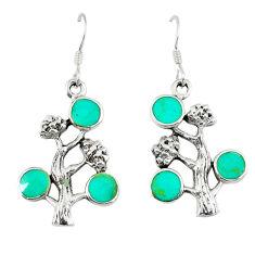 5.25gms fine green turquoise enamel 925 silver tree of life earrings c11859