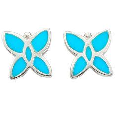 Fine green turquoise enamel 925 sterling silver dangle earrings a69652 c14243