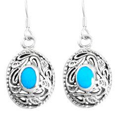 3.48gms fine green turquoise enamel 925 sterling silver dangle earrings c11762