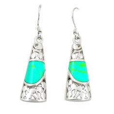 Fine green turquoise enamel 925 sterling silver dangle earrings c11768