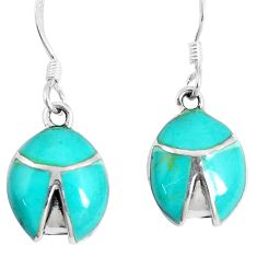 3.89gms fine green turquoise enamel 925 sterling silver dangle earrings c11772