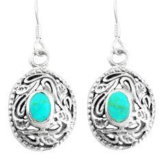 3.89gms fine green turquoise enamel 925 sterling silver dangle earrings c11778