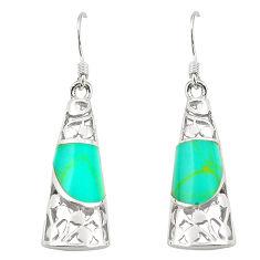 Fine green turquoise enamel 925 sterling silver dangle earrings c11779