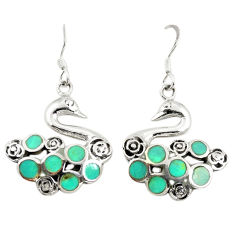 Fine green turquoise enamel 925 sterling silver dangle earrings c11813