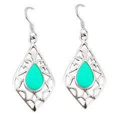 Fine green turquoise enamel 925 sterling silver dangle earrings c11835
