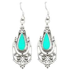 Fine green turquoise enamel 925 sterling silver dangle earrings c11836