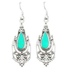 Fine green turquoise enamel 925 sterling silver dangle earrings c11839