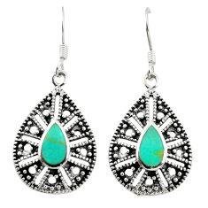 Fine green turquoise enamel 925 sterling silver dangle earrings c11849