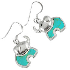 3.01gms fine green turquoise enamel 925 sterling silver dangle earrings c22722