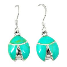 3.85gms fine green turquoise enamel 925 sterling silver dangle earrings c22724