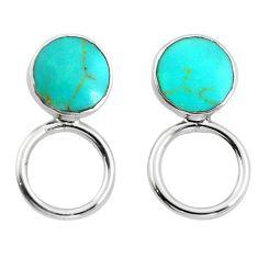 Fine green turquoise enamel 925 sterling silver dangle earrings c23098