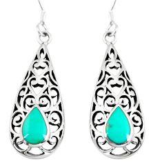 4.02gms fine green turquoise enamel 925 sterling silver dangle earrings c26017
