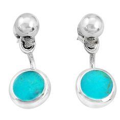 4.48gms fine green turquoise enamel 925 sterling silver dangle earrings c26061