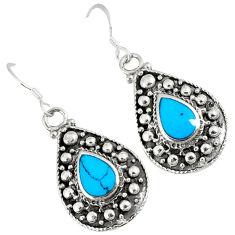Fine green turquoise enamel 925 sterling silver dangle earrings jewelry c11855