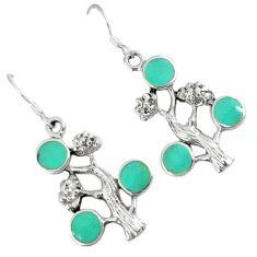 Fine green turquoise enamel 925 sterling silver dangle tree earrings c11854