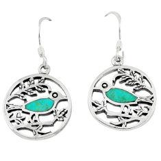 4.87gms fine green turquoise enamel 925 sterling silver earrings a46377 c14217