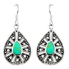 Fine green turquoise enamel 925 sterling silver earrings jewelry c11608
