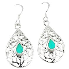 Fine green turquoise enamel 925 sterling silver earrings jewelry c11731