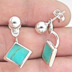 4.89gms fine green turquoise enamel 925 sterling silver earrings jewelry c25716