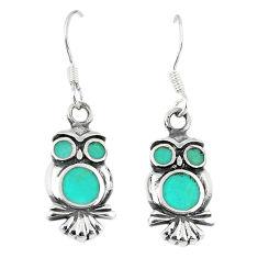 Fine green turquoise enamel 925 sterling silver owl earrings a66728 c14351