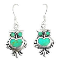 Fine green turquoise enamel 925 sterling silver owl earrings a74743 c14306