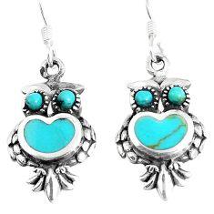 4.47gms fine green turquoise enamel 925 sterling silver owl earrings c11777