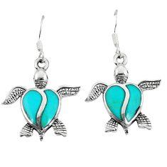 Fine green turquoise enamel 925 sterling silver tortoise earrings a49651 c14381