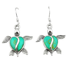 Fine green turquoise enamel 925 sterling silver tortoise earrings a64469 c14393
