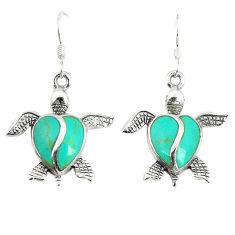Fine green turquoise enamel 925 sterling silver tortoise earrings a67785 c14385