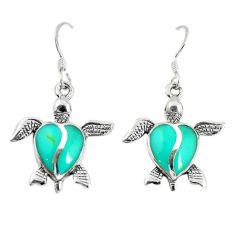 Fine green turquoise enamel 925 sterling silver tortoise earrings a74692 c14397