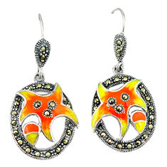 Fine marcasite enamel 925 sterling silver dangle earrings jewelry c21447