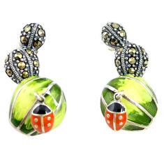 Fine marcasite enamel 925 sterling silver dangle earrings jewelry c22413