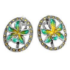 7.48gms fine marcasite enamel 925 sterling silver flower earrings c20915