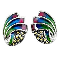 Fine marcasite enamel 925 sterling silver stud earrings jewelry c19871