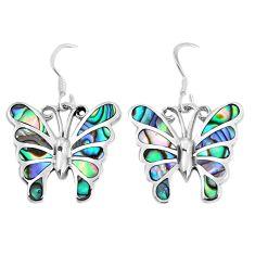7.26gms green abalone paua seashell 925 silver butterfly earrings jewelry c11585